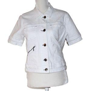 CAbi Short Sleeved White Denim Jacket M